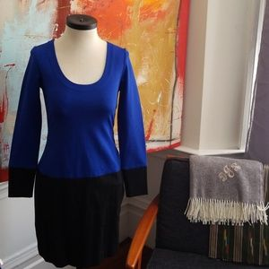 Colorblock blue black dress.
